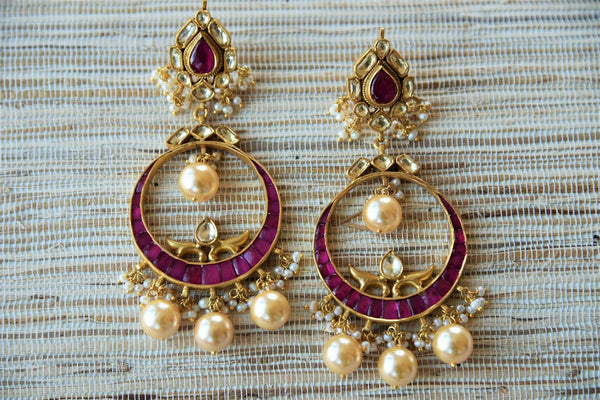 20A768 Silver Gold Plated & Purple Chandbali Earrings