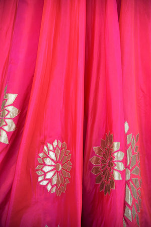 501194 Pink Pure Silk Anarkali With Leather Applique Work