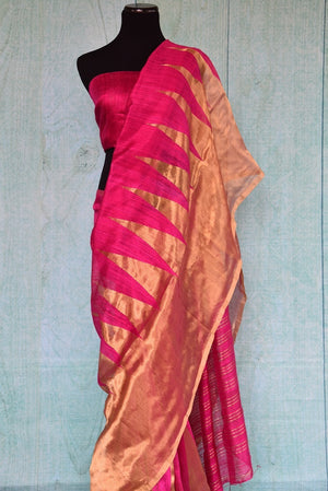 90C304 Pink Matka Saree With Gold Temple Zari Border