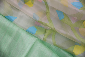 90C429 Pista Green Saree With Flowers
