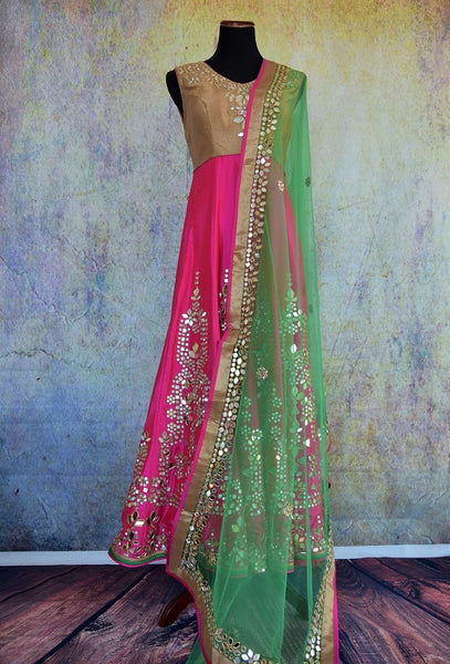500875 Pink And Beige Anarkali With A Green Dupatta And Mirror Work