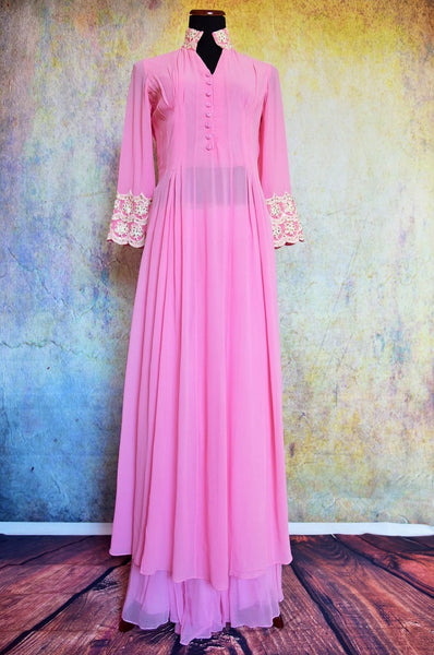500786 Buy this traditional Indian pink suit with long kurta and palazzo pants online from Pure Elegance or from our store in Edison near NJ. Ideal for any wedding, reception, sangeet. Front View.