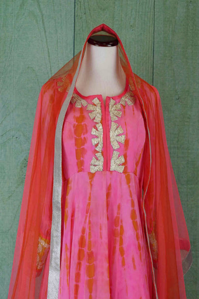 500981 Pink Anarkali With Silver Work & Coral Dupatta