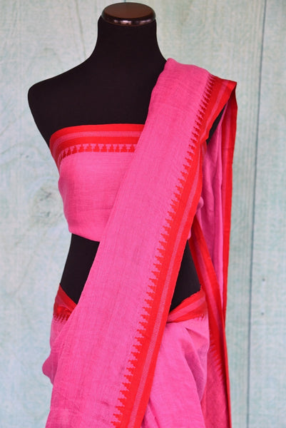 90C307 Pink Linen Saree With Red Border