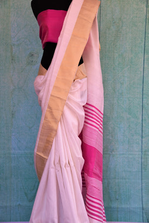 90C392 White Raw Silk Saree With Pink Blouse