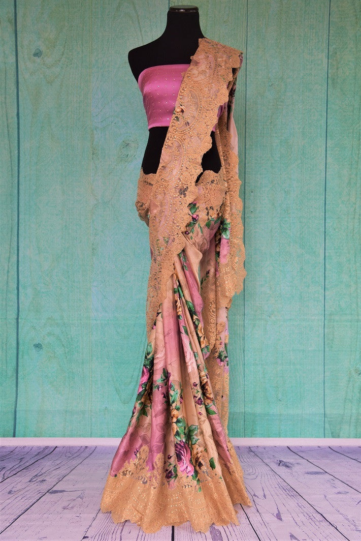 90C534 Lavender & Beige Printed Pure Silk Saree With Lace Border