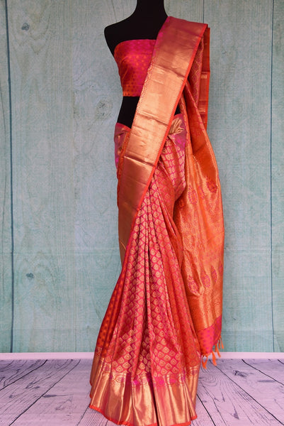 90C455 Pink & Gold Self Weave Kanchipuram Saree