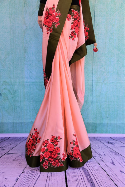 90C355 Peach Satin Crepe Saree With Green Border & Rose Applique