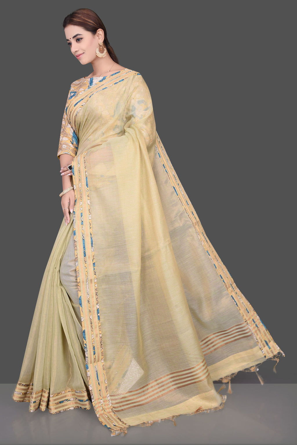 Shop lovely yellow embroidered linen saree online in USA with matching saree blouse. Shop beautiful silk sarees, hand embroidered saris, linen sarees, designer sarees in USA from Pure Elegance Indian fashion store in USA. Shop online now.-full view