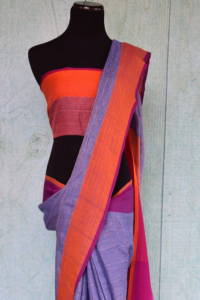 90C301 Lavender & Orange Simple Linen Saree