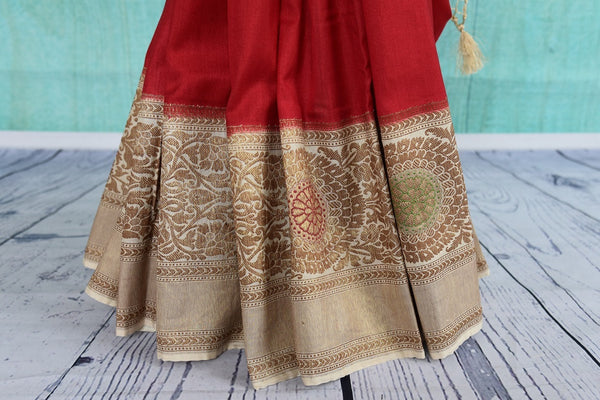 90C510 Red Tussar Georgette Saree With Beige Border