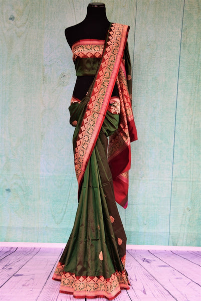 90A733 Traditional red & green saree from India is available at our online Indian clothing store in USA. The Indian Banarasi saree is the perfect Indian wedding outfit. Buy this timeless saree today!