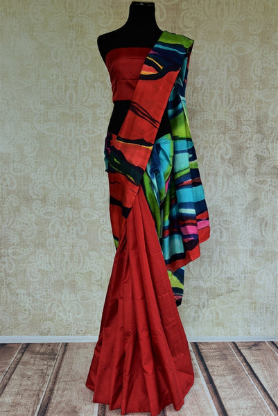 90C560 Hand Painted Red Silk Saree With Multi Colored Touches