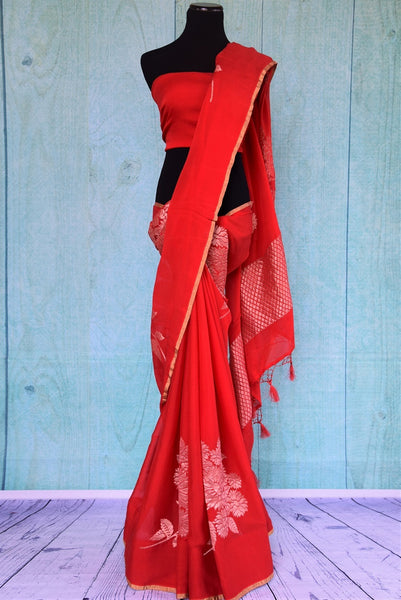 90C498 Red Georgette Benarasi Saree With Flowers