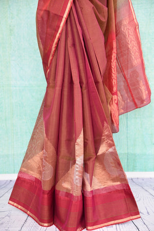 90C258 Traditional south silk saree available online in USA. The maroon and gold saree comes with paisley design and is great for festive occasions and pujas. This ethnic saree is sure to be a hit no matter what the season!