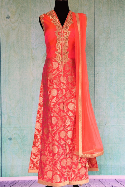 501209 Orange Raw Silk Benarasi Suit With Pants