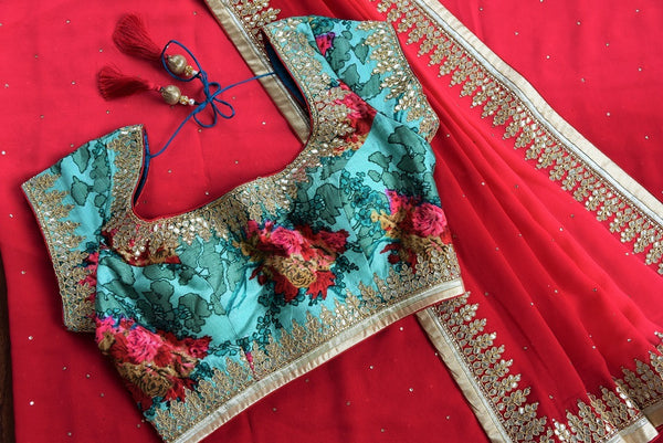90C579 Ombre Red Saree With Gota Patli Work & Printed Blouse