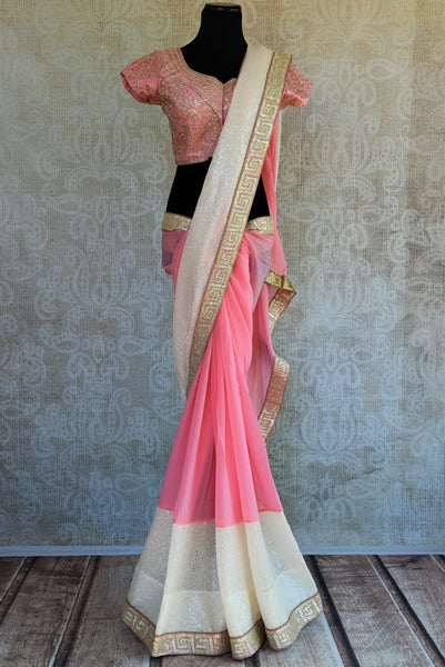 90C574 Pink & White Shaded Chiffon Saree With A Designer Blouse