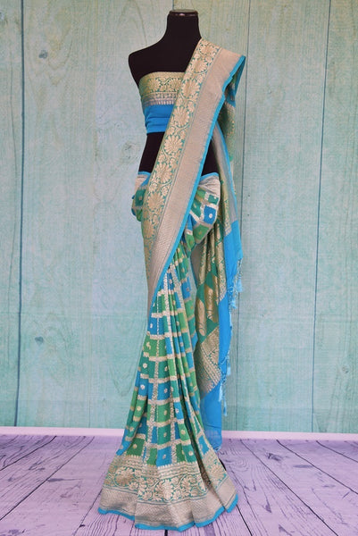 90C497 Sea Green & Blue Georgette Khaddi Saree