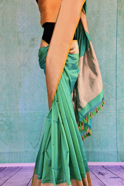 90C456 Sea Green Silk Benarasi Saree