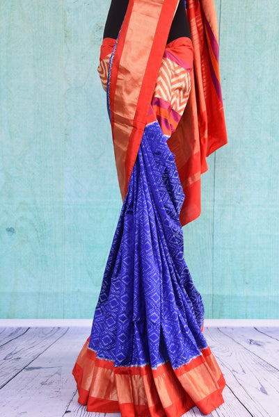 90C554 Blue & Orange Silk Ikkat Saree