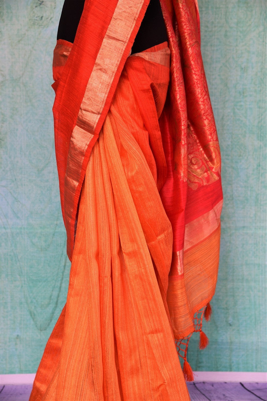 90C509 Shaded Orange Gicha Saree With Benarasi Buta