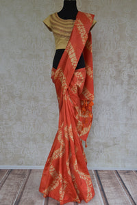90C545 Tie-Dye Orange Tussar Silk Saree