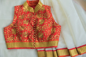 90C533 White Chanderi Saree With Red Embroidered Blouse