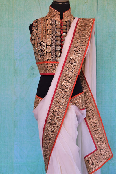 90C532 White Chanderi Saree With Gold Border & Blouse