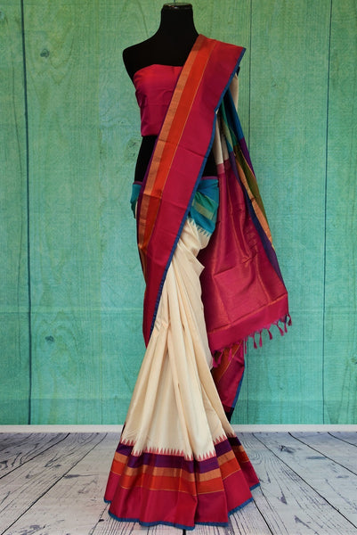 90C437 White Kanchipuram Saree With Maroon & Blue
