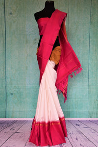 90C452 White Kanchipuram Saree With Pink & Orange Border