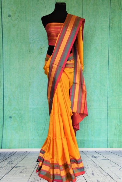 90C440 Yellow Kanchipuram Saree With Multi Colored Striped Border