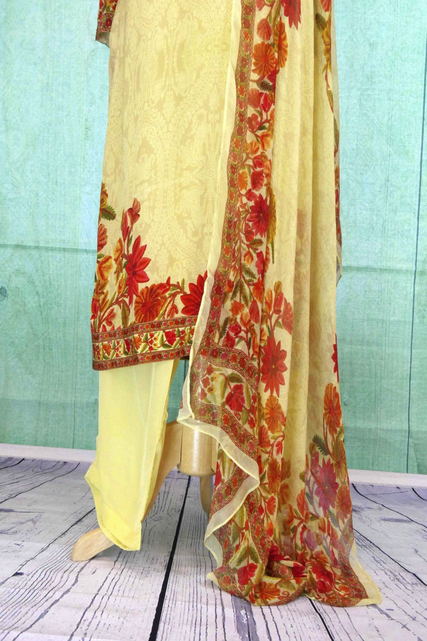 501109 Pastel Yellow Suit With Floral Embroidery