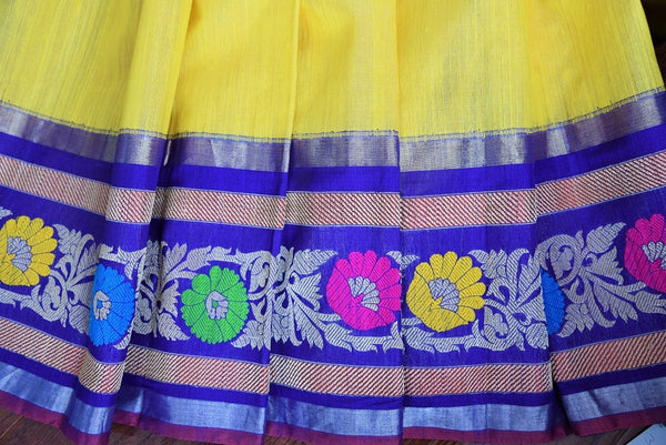 90B934 Yellow resham Banarasi saree with multi-color border and blue blouse. The traditional saree from India is available at our Indian clothing store online in USA. This ethnic outfit makes for a classic saree that's sure to have all eyes on you!