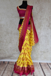 90C286 Chevron Yellow & Maroon Ikkat Silk Saree