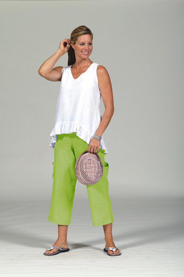 linen pocket pants in apple