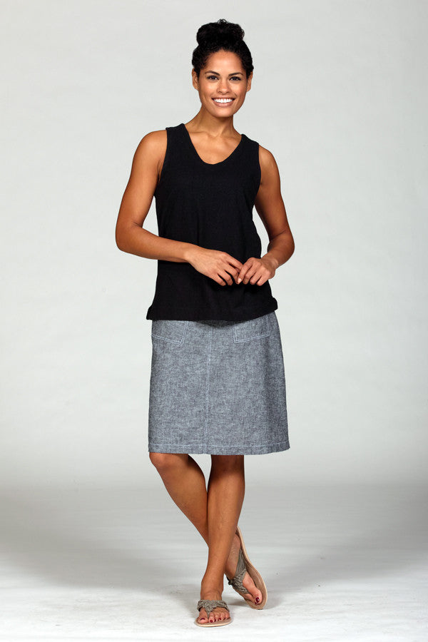 linen pocket skirt in crosshatch grey