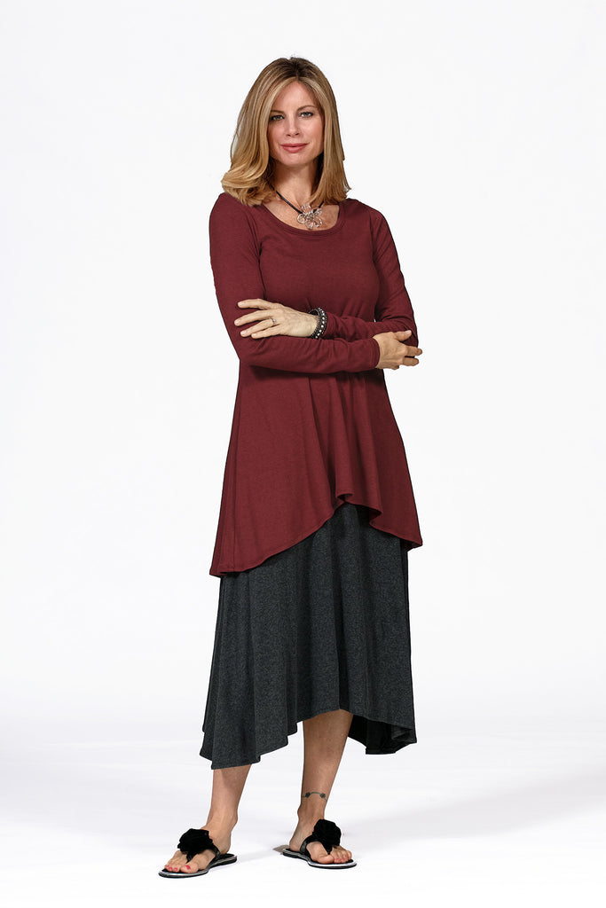 bamboo tunic on model in brick