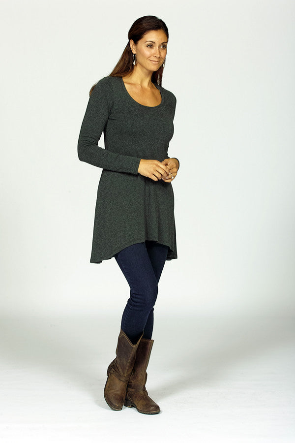 bamboo tunic on model in charcoal