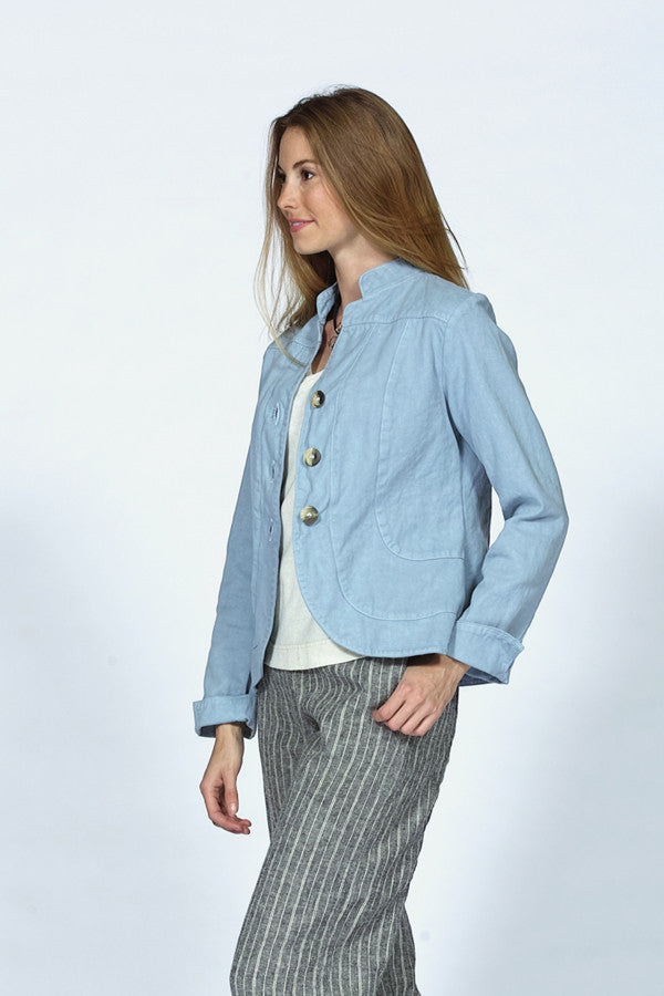 organic cotton jacket in sky ble