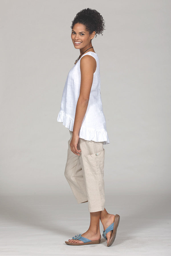 linen pocket pants in flax