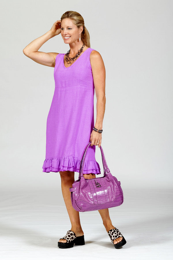 linen ruffle dress in lilac