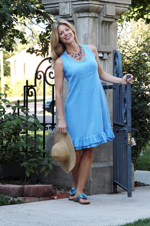 linen ruffle dress in periwinkle