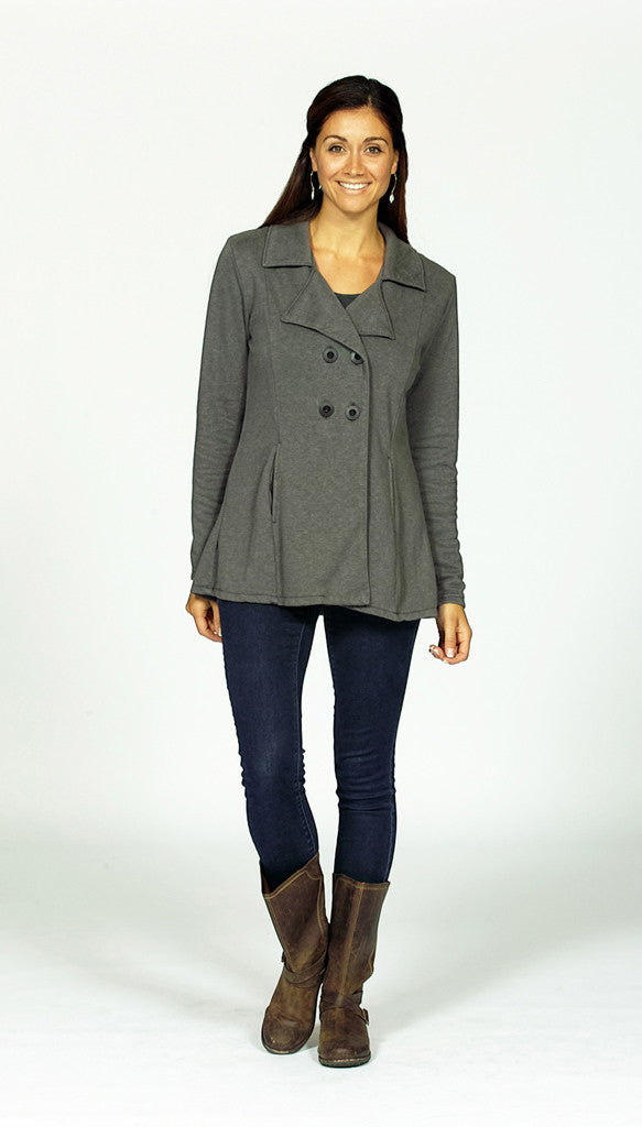 hemp pea coat in dove grey