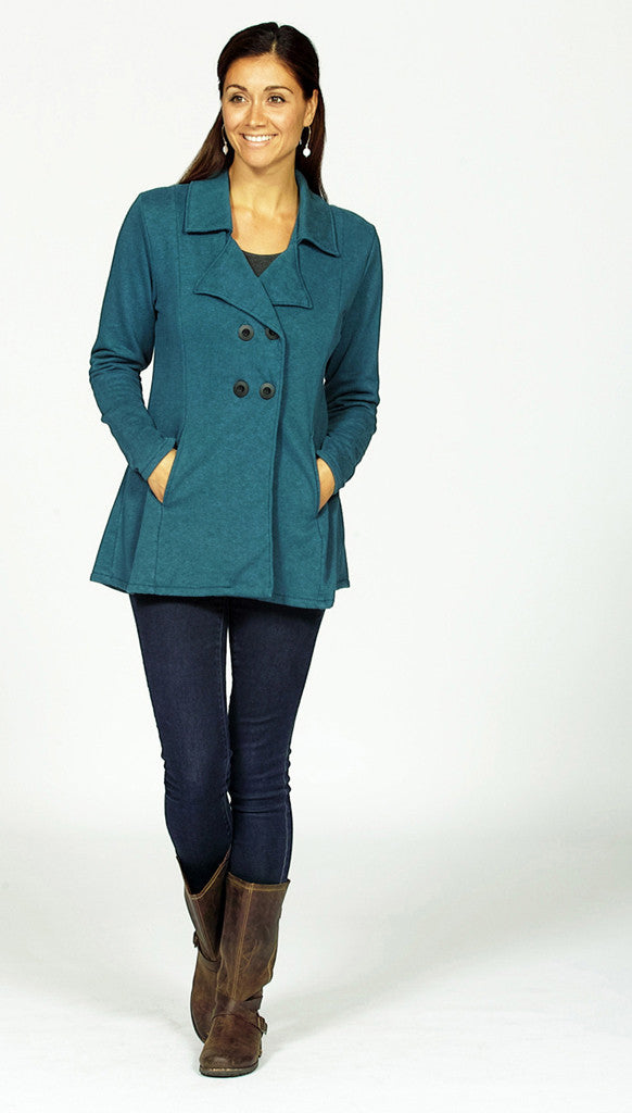 pea coat in hemp fleece in pacific