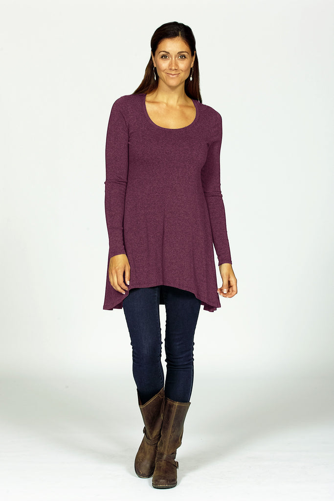 bamboo tunic on model in mulberry