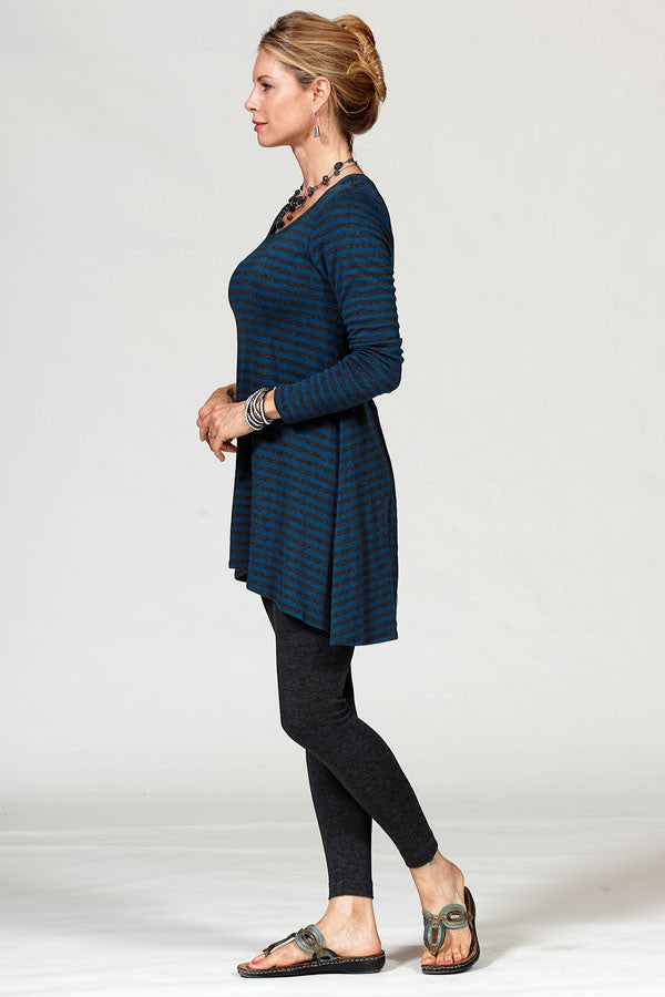 bamboo tunic on model in pacific and charcoal stripe