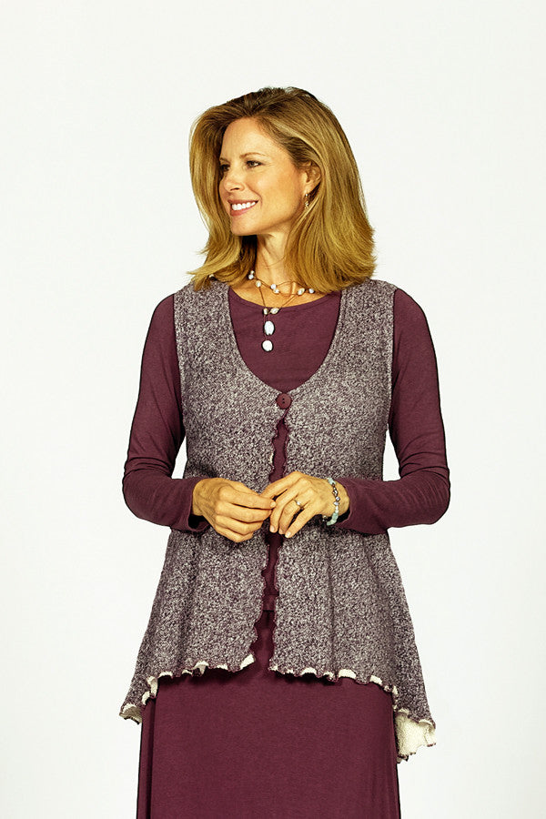 button vest in mulberry cotton