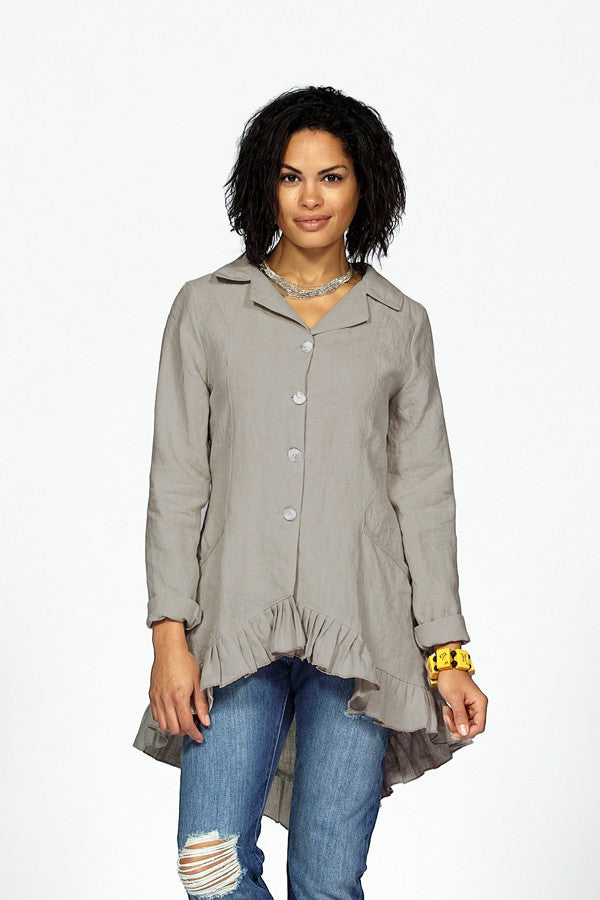 linen ruffle jacket in dove