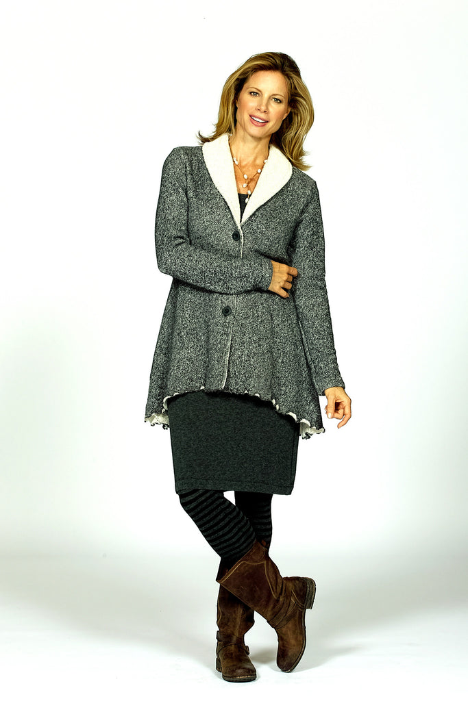 shawl collar jacket in charcoal by Goddess Geaer